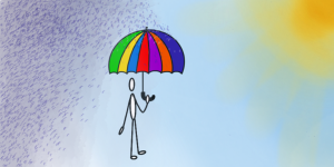 Little Guy with Resilience Umbrella